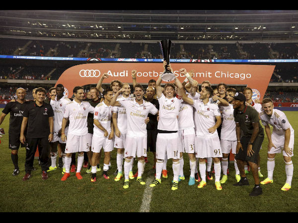 AC Milan celebrates defeating FC Bayern Munich at the International Champions Cup competition on Wednesday, July 27, 2016, in Chicago.