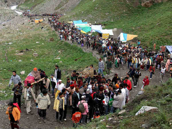 File photo of pilgrims enroute holy shrine of Amarnath
