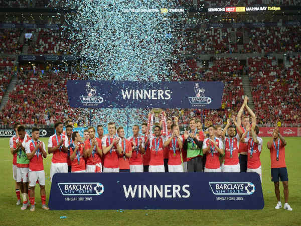 Arsenal players rejoice after winning the Barclays Asia Trophy in 2015