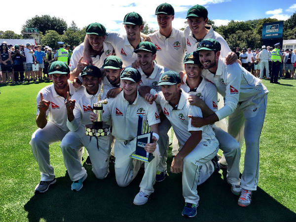 Australian team poses after winning Test series against New Zealand earlier this year