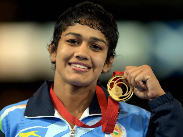 Babita Kumari with gold medal after medal ceremony of the women's Freestyle Wrestling 55kg Final match at the Scottish Exhibition Conference Centre during the Commonwealth Games 2014 in Glasgow