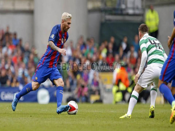 Lionel Messi in action for Barcelona against Celtic (Image courtesy: FC Barcelona Twitter)