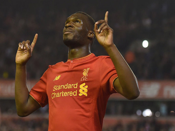 Christian Benteke celebrates after scoring for Liverpool (Image courtesy: BBC Sport twitter handle)