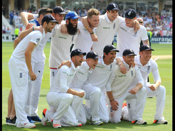 File photo: England players celebrate Ashes 2015 series win