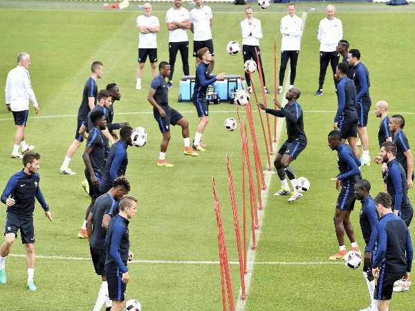 France's players exercise during a training session of the French national team