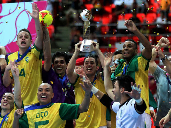 Reigning champions Brazil celebrate after winning the world cup in 2012