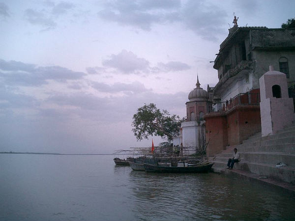 Ganga swollen in Varanasi, tributary in full spate.