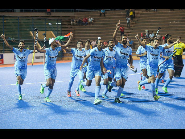 Indian Junior Men's Hockey Team celebrating after winning 8th Junior Men's Asia Cup against Pakistan by 6-2 in the final at the Wisma Belia Hockey Stadium in Kuantan, Malaysia.