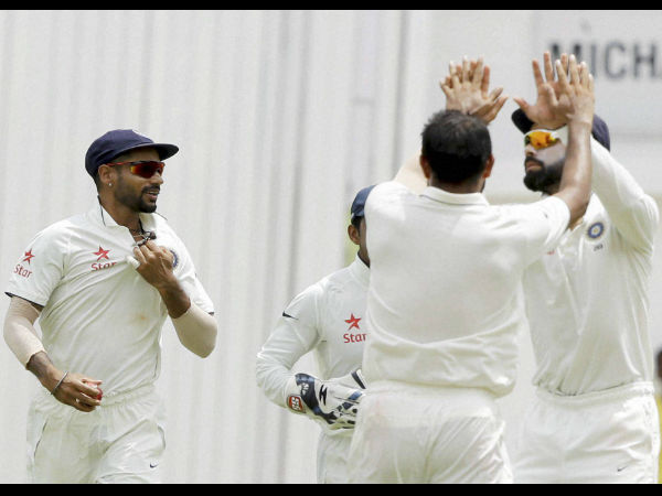 A file picture of Indian players celebrating a wicket during a Test