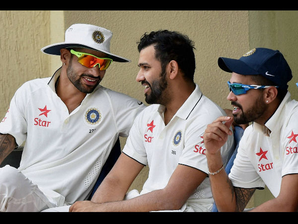 Cricketer Shikhar Dhawan, Rohit Sharma and Murali Vijay during a practice match on the fifth day of the preparatory camp ahead of West Indies tour in Bengaluru