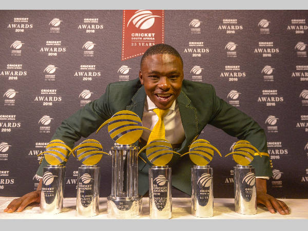 Super Six: Kagiso Rabada poses with his 6 trophies. Photo from CSA's Twitter page