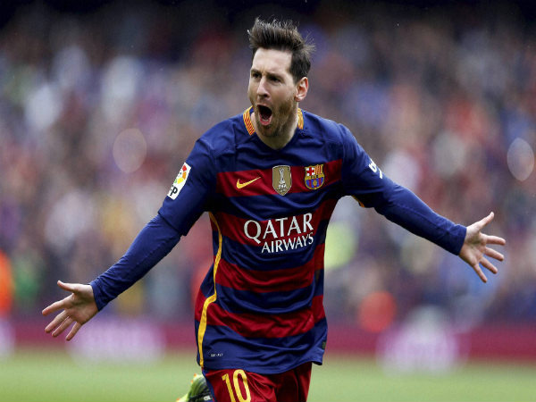 File Photo: Lionel Messi celebrates after scoring a goal for Barcelona