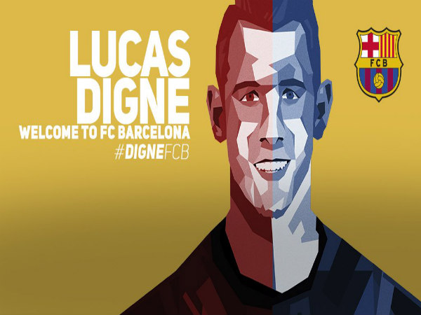 Lucas Digne signs for FC Barcelona (Image courtesy: FC Barcelona twitter handle)