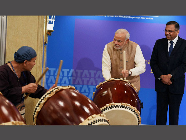 PM Narendra Modi beats a traditional Taiko drum during inauguration of the TCS Japan Technology and Culture Academy in Tokyo.