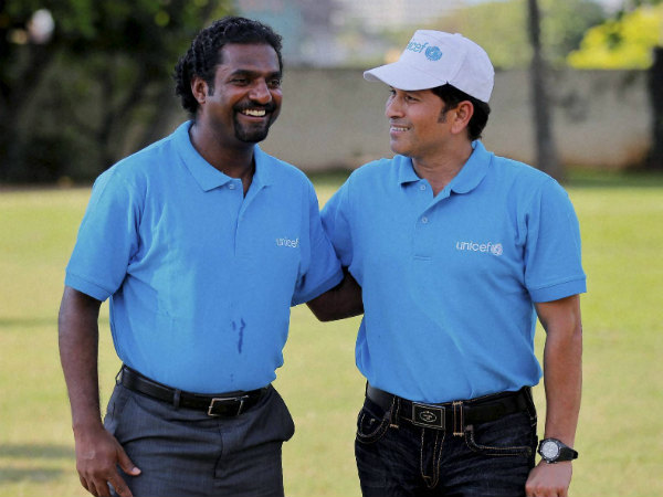 Legends: In this file photo, Muralitharan (left) is seen with Indian batting great Sachin Tendulkar