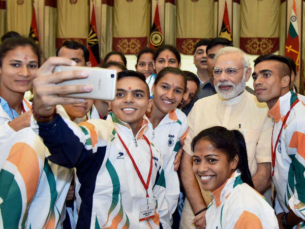 Rio-bound Indian athletes take a selfie with PM Modi earlier this month