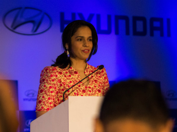 Saina speaks at Hyundai event