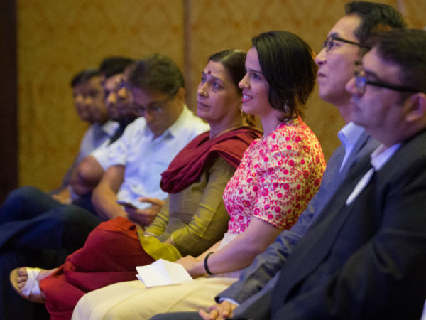 Saina is seated with her mother Usha Nehwal at Hyundai's event