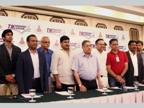 Tamil Nadu Cricket Association (TNCA) President and former BCCI chief N Srinivasan (5th from left) along with franchisee bidders of TNPL pose for picture during the launch event in Chennai, in June this year.