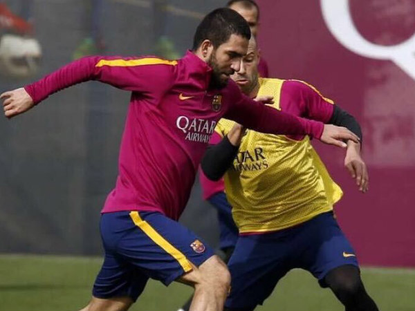 Arda Turan (left) during practice session at Barcelona