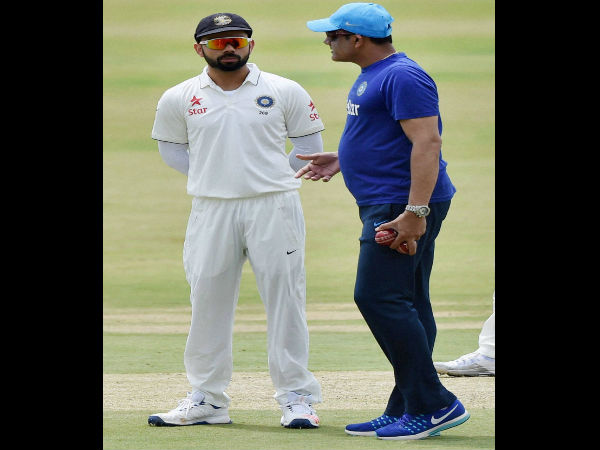 Captain Virat Kohli with Head Coach Anil Kumble during a practice match on the fifth day of the preparatory camp ahead of West Indies tour, in Bengaluru.