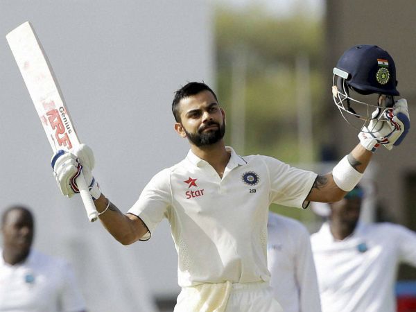 Virat Kohli celebrating his century in 1st Test. He went on to score his maiden double ton