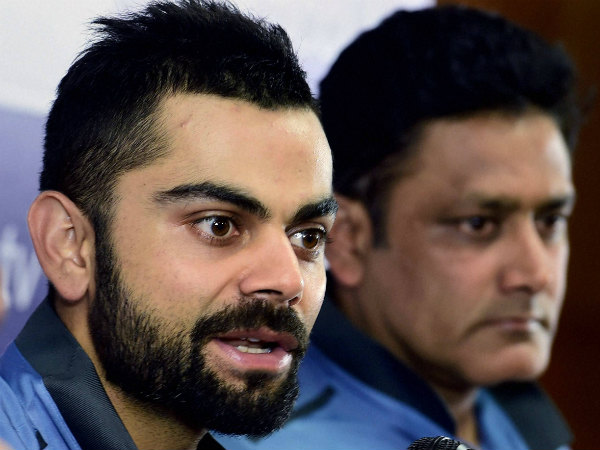 Kohli (left) speaks to the media in Bengaluru on Monday. Coach Anil Kumble is also seen
