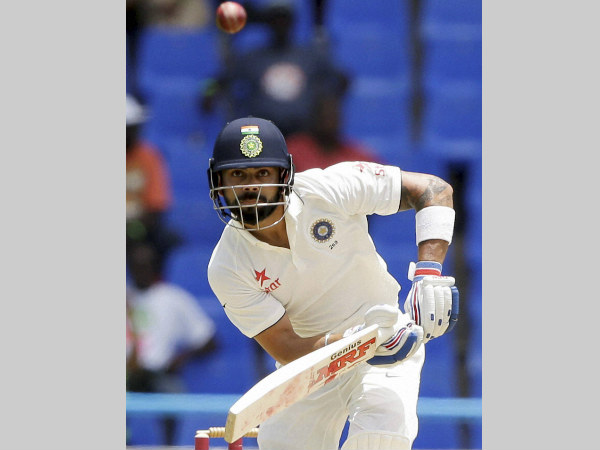 Virat Kohli plays a shot on way to 143 not out
