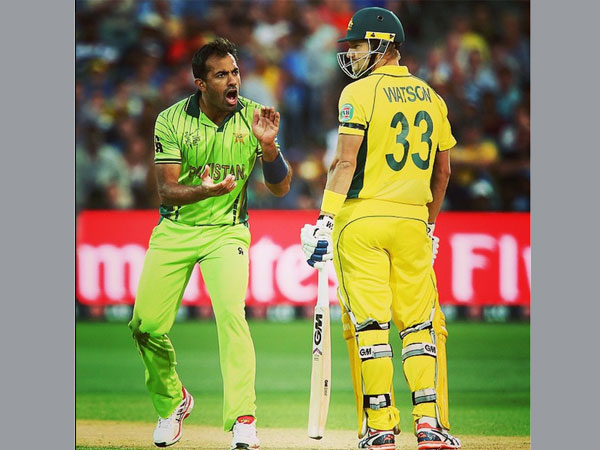 File photo: Wahab Riaz-Shane Watson duel during WC 2015