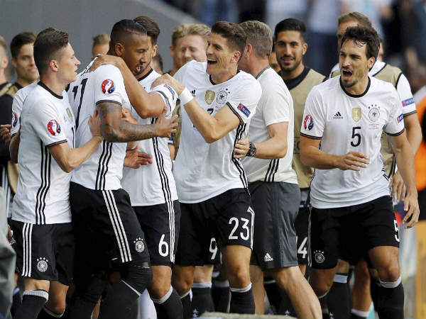 File Photo: German players celebrate after scoring a goal in Euro 2016