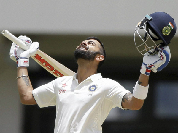 Virat Kohli celebrates his double ton in 1st Test
