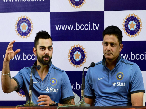 Indian captain Virat Kohli and Head Coach Anil Kumble during a press conference on the last day of the preparatory camp ahead of West Indies tour, in Bengaluru on Monday.