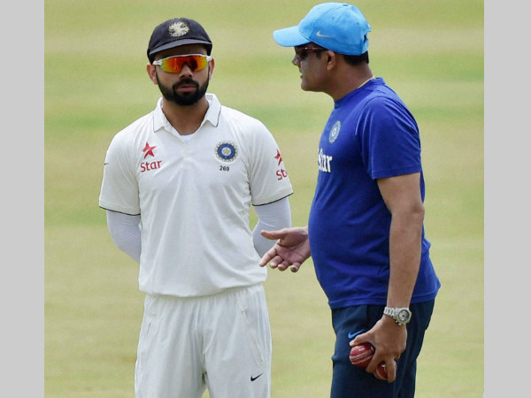 File photo: Kumble (right) with Test captain Virat Kohli