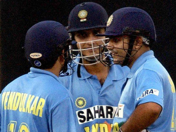 Sehwag (right) with Ganguly (centre) and Tendulkar during a ODI. This picture was tweeted by Sehwag