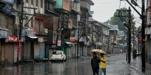 A deserted street in Srinagar during rains