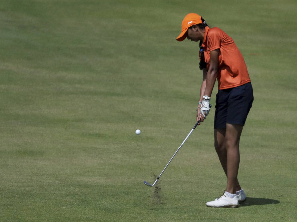 Aditi Ashok of India hits on the fifth fairway during the third round of the women's golf