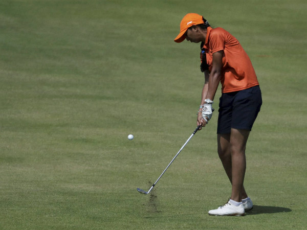 Aditi Ashok of India hits on the fifth fairway during the third round at Rio Olympics