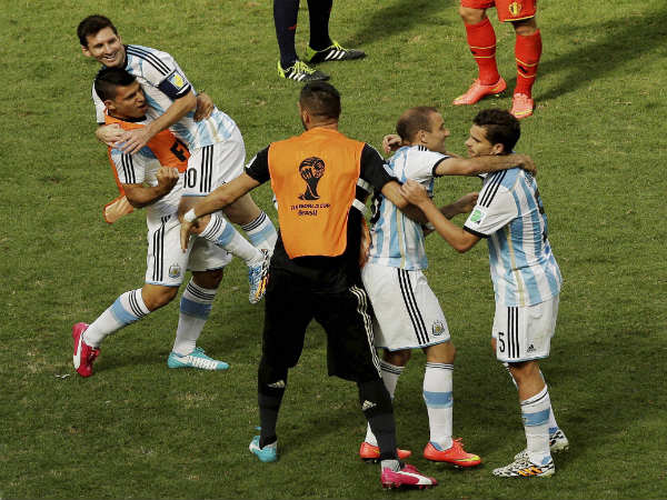 Sergio Aguero and Lionel (left) celebrate during FIFA World Cup 2014