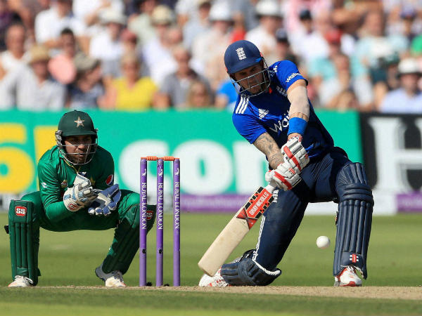 Englishman Alex Hales bats watched by Pakistan's wicketkeeper Sarfraz Ahmed during the 3rd ODI. Hales scored a record 171