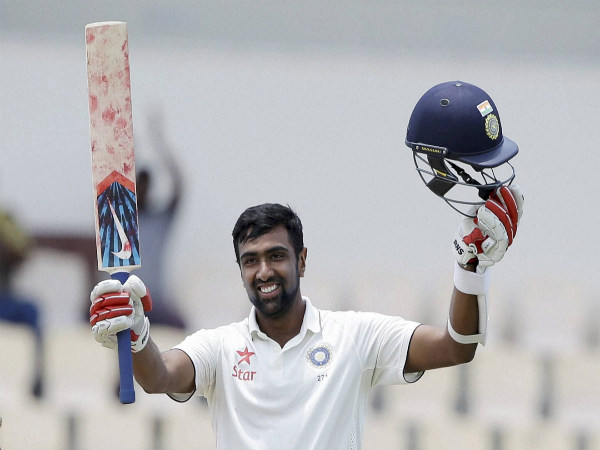 Ravichandran Ashwin celebrates after he scored a century against West Indies during day two of their third test match