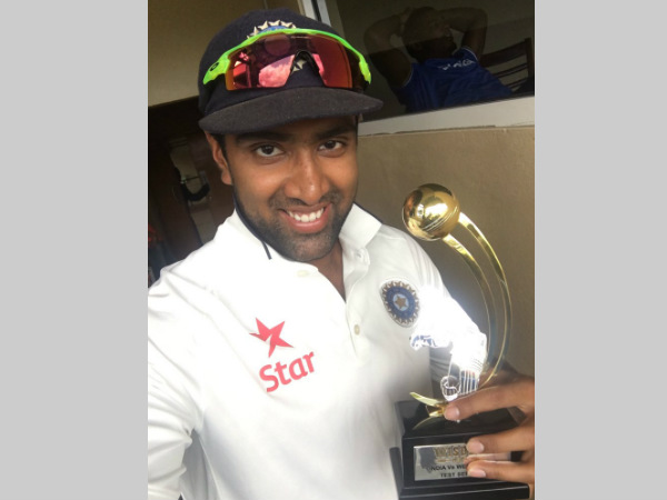 Ashwin poses with his Man-of-the-series trophy. He tweeted this picture