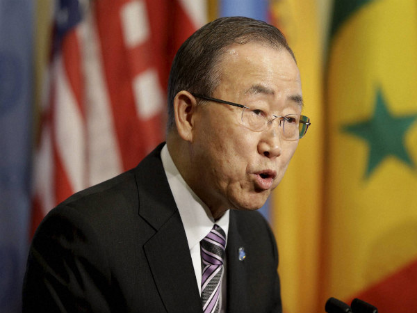 United Nations Secretary-General Ban Ki-moon speaks to reporters before a Security Council meeting at U.N. headquarters