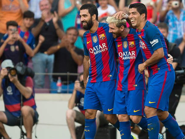From left: Arda Turan, Lionel Messi and Luis Suarez celebrates after scoring against Real Betis (Image courtesy: FC Barcelona Twitter handle)