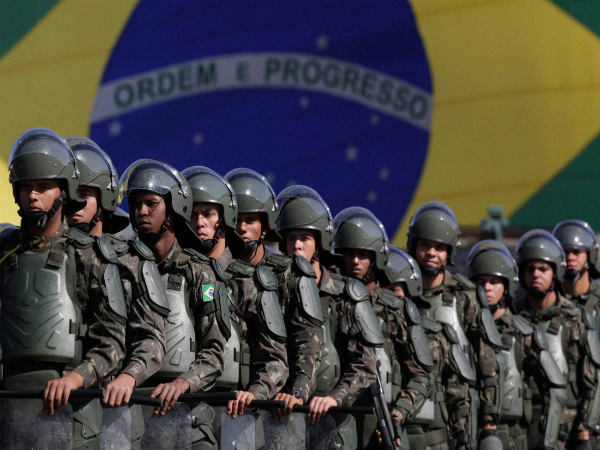 Brazilian Army soldiers take part in military exercise during presentation of the security forces for the Rio 2016 Olympic games