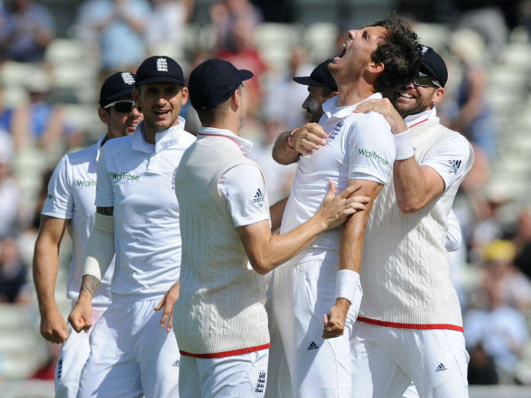England's Steven Finn celebrates after bowling Pakistan captain Misbah-ul-Hag, caught by England's Jonny Bairstow during day five of the 3rd test cricket match at Edgbaston.