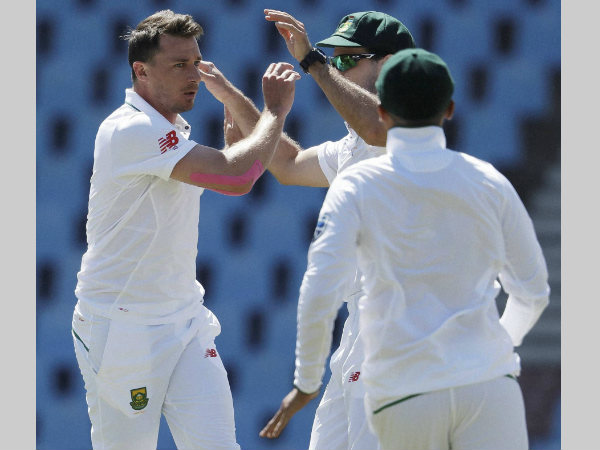 Dale Steyn, left, celebrates after dismissing New Zealand's Martin Guptill, for a duck on the fourth day of their second cricket test match at Centurion Park on Tuesday (August 30)