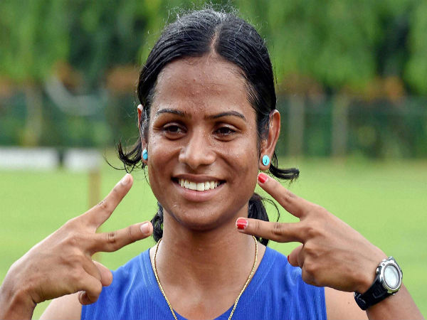 Indian sprinter Dutee Chand celebrates after qualifying for Rio Olympics in the women's 100m event