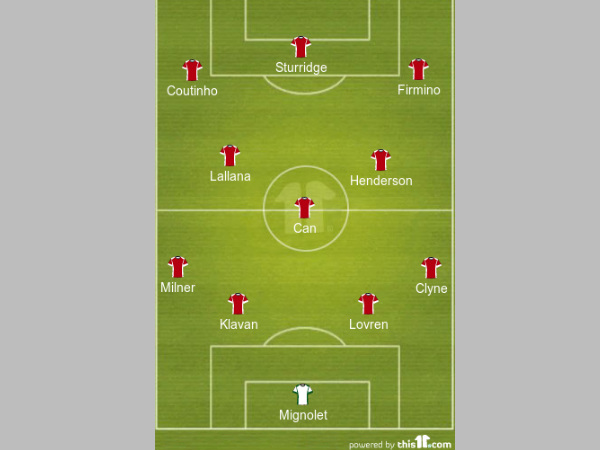 Liverpool starting XI formation