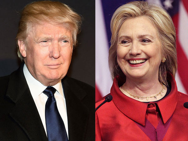 US President Donald Trump and Hillary Clinton. PTI file photo