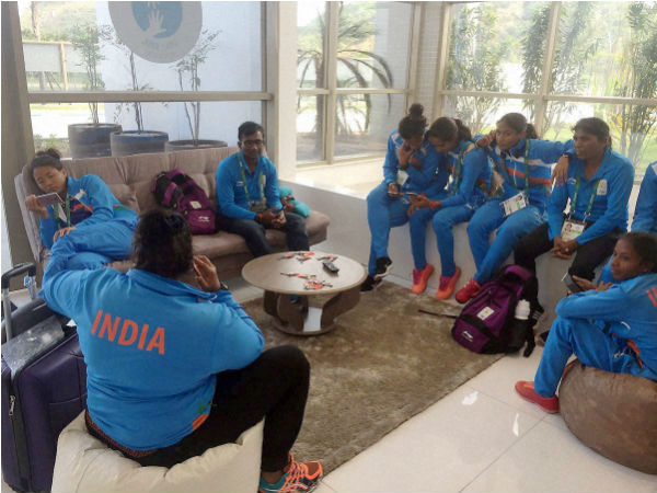 Members of Indian women's hockey team on their arrival in Rio de Janeiro on Sunday for the Olympic Games starting August 5.